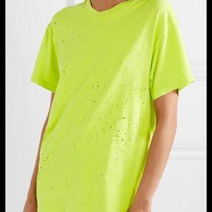 Amiri distressed shotgun neon yellow t shirt
